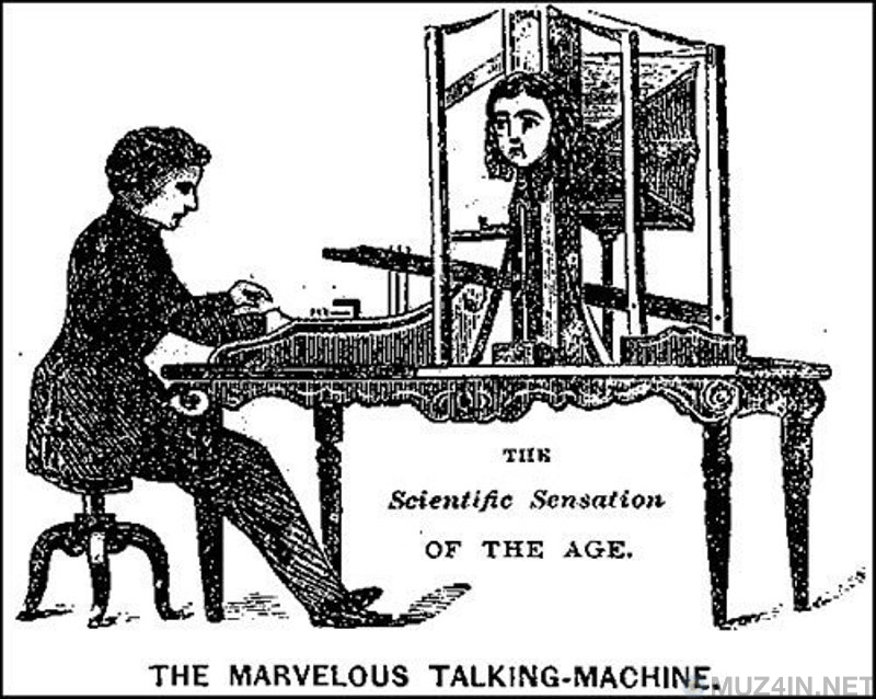 What a text-to-speech device looked like in 1846, or a talking robotic head with curls
